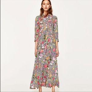 Zara floral striped maxi dress 🌼🌷🌸🌺